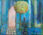 Dans son jardin trempé d'eau, Paul veillait, c'était l'heure bleue. La lumière par rais, tissait l'air sans chaleur. - 61cm x 50cm - 2019