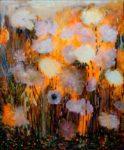 Le soir au couchant quand les falaises mangeaient le feu, les fleurs abandonnaient les couleurs comme des mendiantes - 46cm x 38cm - 2019