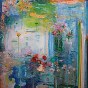 Nous allions au printemps, le long des grands bassins où les fleurs grandissaient dans leur fine noblesse.J'entendais mes rêves dans tes chuchotements quand ma main frôlait la tienne dans sa délicatesse. - 120cm x 120cm - 2019