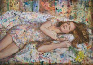 Dans ce grand champ de peinture quelques fleurs dorment dans ta main; il faut donner le parfum aux taches sonores avant de partir au matin. - 116cm x 81cm - 2020