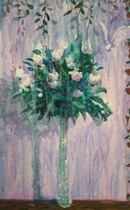 Il semblait qu'il pleurait dans ton amour comme il pleuvait sur ton bouquet. Il semblait qu'une blanche colombe chantait comme la voix du petit jour. - 61cm x 38cm - 2020