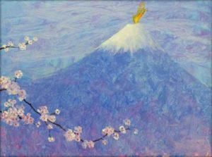 J'avais bien vu ton âme butiner de fleur en fleur les arôme du printemps. J'avais bien vu ton âme sécher mes larmes comme Marie sur les joues de son enfant. J'avais bien vu ton âme danser sur les neiges parfumées du Fuji, je t'avais vu fondre les nuages comme un doux pinceau d'aquarelle, tu es là partout où le beau s'embrasse. - 61cm x 46cm - 2020