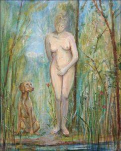 La matinée avait la douceur d'un début d'été sans la moindre brise d'air, pourtant Diane avait bien entendu quelques feuilles au loin s'agiter; elle regardait son chien qui semblait bien avoir flairé une présence. - 50cm x 40cm - 2020