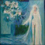 """Peut-être un signe du destin mais le bouquet de Sissi s'envola comme un oiseau libre vers l'écume de la mer. """"Si nous n'étions que de blancs oiseaux, mon amour, portés sur l'écume de la mer.(W.B Yeats)"""" - 60cm x 60cm - 2020"""
