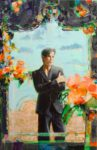 L'instant précis où le critique d'art Lou Houët attendant son taxi devant le miroir du Soho Beach Hôtel se dit: Pagé avec ses histoires de miroir,  il ne faudrait pas qu'il nous prenne pour des alouettes ! 92 cm x 65 cm 2014