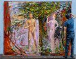 Abel travaillant à son tableau « L'érection d'Adam » 35cm x 27cm 2014
