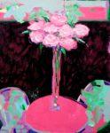 Eve, j'ai retrouvé «Plume» elle est derrière la petite table rose 55cm x 46cm 2015