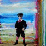 Benito se préparant pour la fête costumée, dans l'atelier de son père.  50cm x 50cm 2015