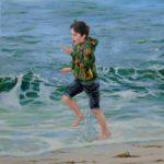 Octave bravant l'éphémère vie d'une vague 60cm x 60cm 2015