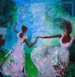 L'instant où pendant le bal costumé, dansant avec Ludivine et Lila, Louise me dit : Mais vous êtes ivre François, l'ouvrage du soir au matin se défait ! 30cm x 30cm 2015