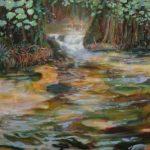 L'instant où au bois d'amour Julia me dit: J'ai l'impression que vous êtes plus absorbé par le jeu des baigneuses là-bas que par les théories de Gauguin. 100cm x 100cm 2016