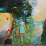 l'instant où dans le fond de l'atelier Garance me dit: Quel transport dans votre peinture! 80cm x 80cm 2016