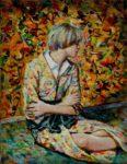 Claire dans son atelier 18cm x 14cm  2016