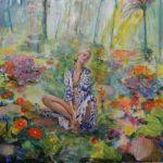 L'Instant où Yona me dit: Vous allez être bien ici pour peindre, vous avez vu le jardin! On à l'impression qu'il est déjà peint, cela va vous faciliter la tâche . 100cm x 100cm 2017