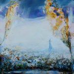 """""""Colin-maillard, l'instant précis où tu murmurais : Comme des nuées, flottent gris les chênes, des forêts prochaines, parmi les buées."""" 80 cm x 80 cm 2013"""