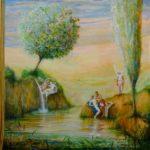 """""""L'ange visitant Sainte Anne, Joachim, Flore et Zéphyr"""" 150 cm x 150 cm 2013"""