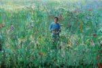 Bertrand cueillant des fleurs pour Jeanne vers 20h30 33 cm x 22 cm 2014