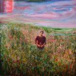 L'instant précis ou Bertrand cueillant des fleurs pour Jeanne me dit: Je ne sais pas si ce champ de fleurs est à la hauteur de mes sentiments? 120 cm x 120 cm 2014