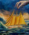 L'instant précis où Loïc dit à Arthur: Mais voyons ton petit bateau n'est pas fait pour flotter sur l'océan 61 cm x 50 cm 2014