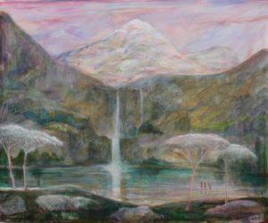 Dans l'intime montagne, le son de la cascade masquait à peine le chant des femmes qui se baignaient au loin  55cm x 46cm 2018