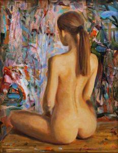 L'instant où Louise posant dans mon atelier me dit : Vous vous mettez donc maintenant à la peinture abstraite !  35cm x 27cm 2018