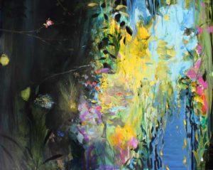 Ah les frais parfums ! vous voilà bien perdu pour les peindre me dit cette fleur qui jouait encore avec son rire de printemps .  162cm x 130cm 2018