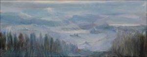 Quand je revenais de chez Maud, je passais toujours par la petite combe, le paysage d'hiver aux nuances d'une palombe portait le chant de la grive, la nature ne faisait jamais de faute.  20cm x 50cm 2018