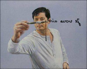 «Je vais finir par vous peindre le bout du nez! (Je vous aime)» 50cm x 40cm 2018