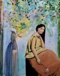 J'aimais bien aller peindre dans l'atelier d'Adèle, tout était fait de bricolage, tout devenait infidèle pareil au reflets sur une rivière, fallait-il fermer les yeux!  146 cm x 114 cm 2018