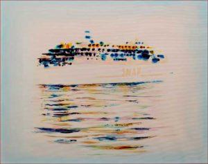 Avant de partir vers Capri dans la blancheur infinie du matin, ton cœur scintillait de bonheur comme les couleurs du navire. Capri l'infini.  50cm x 40cm 2018