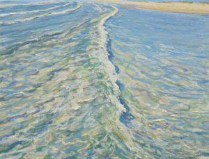 De ses longs rubans blancs de sa robe princière, la mer caressait à mi-pied ma peau d'été, l'air sentait les bleus de ses reflets.-35cm x 27cm-2018