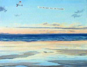 Je fus surpris en ce début de soirée de voir voler, longeant la côte, un avion traînant une banderole publicitaire, il me semblait lire : le monde est un trucage.-35cm x 27cm-2018