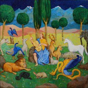 D'une mélodie d'amour inconnue, Orphée charmait l'ensemble des animaux et semblait émouvoir les êtres inanimés. - 100cm x 100cm - 2018
