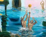 C'est à l'instant où le corps des deux hommes s'éleva vers le ballon comme un astre solaire que Chloé tomba éperdument amoureuse d'Icare. - 100cm x 81cm - 2019