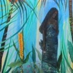 Vaiani fixait le gecko en prince solitaire. La fontaine distillait ses cliquetis de quiétude, les feuilles des palmiers chantaient sous la lumière d'un dieu qui descendait quand s'en allaient mes yeux - 120cm x 120cm - 2019