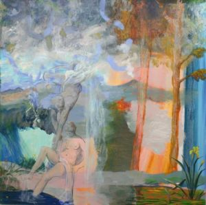 Dans l'indifférence du volcan qui crachait son feu au loin, l'iris semblait flotter dans l'air innocemment, Cupidon lui, ranimait la belle Psyché tombée inconsciente après avoir respiré le baume rapporté de chez Prospérine . - 100cm x 100cm - 2019