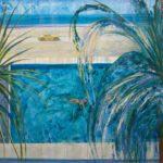Quand Alice flottait sur un baiser d'azur, Les alizées sifflaient dans les palmiers pour rire. Au loin les vagues écumaient leur plaisir, Carpe diem. - 80cm x 80cm - 2019