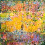C'était l'été, la mer au fond maillait ses reflets et son âme. Le jardin en habit de fête préparait les amours champêtres. Sous la tonnelle, le soleil tentait de peindre des soies persanes. - 50cm x 50cm - 2019
