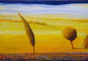 Le vent d'est, d'or la plaine les arbres dansent, où le soleil s'est penché. - 35cm x 24cm - 2019