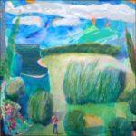 Dans une mare apaisée, un loup buvait; Jésus poursuivait son chemin vers l'amitié prochaine, au loin quelques volcans faisaient acte de présence chauffant l'arrière train de quelques nuages en retard. - 100cm x 100cm - 2020