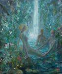 Devant le bruit assourdissant de la cascade, elles semblèrent surprises de mon apparition, un peu comme Diane entourée par ses Nymphes sortant du bain devant Actéon. - 54cm x 46cm - 2020