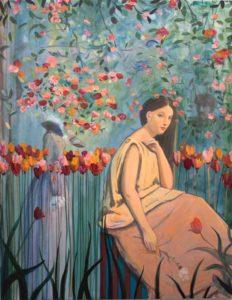 J'avais vu dans ton tes yeux Camille d'autres regards croisés; dans ton jardin bleu où les tristesses sont belles, habile sera le baiser donné - 162cm x130cm - 2020