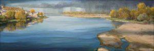 A la confluence, nos deux mains s'étaient rejointes, un trait d'union sur un pont où l'averse avait lavé nos passés. - 60cm x 20cm - 2020
