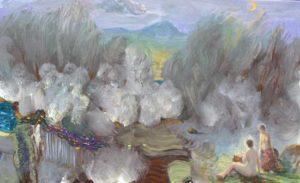 Dans le ciel un nuage pressé soufflait comme il pouvait, Athéna elle distribuait à Calliope une partie de son trésor. - 61cm x 38cm - 2020
