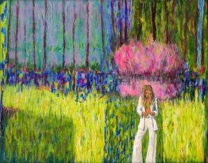 Dans ce printemps étrangement calme, Alexandra lisait le monde comme le générique d'un film sans fin. Seul persistait le chant des oiseaux, heureux de leur sort. - 50cm x 40cm - 2020