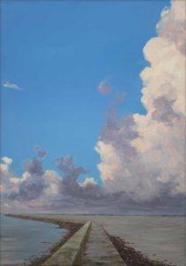 La balade nous était fidèle quand le soir nous allions embrasser l'horizon et les promesses de peintures à ciel ouvert. Derrière le phare, dans l'intimité de la mer, nos mains agiles devenaient buissonnières. - 65cm x 46cm - 2020