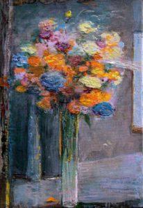 Avec ton bouquet la nuit nous te regardions dormir, quelques fleurs gardaient en mémoire la lumière du jour comme des lucioles ou des lampyres.0 - 35cm x 24cm - 2020