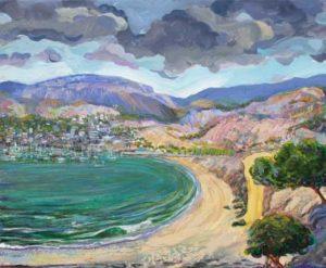 Le village gardait son port comme un écrin vibrant aux derniers rayons du soleil, les nuages comme des lutteurs romains animaient le ciel comme dans une arène antique. - 46cm x 38cm - 2020
