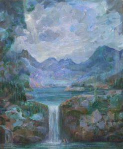 Au loin les montagnes semblaient vouloir s'élever, curieuses du spectacle sous la cascade. - 46cm x 38cm - 2020