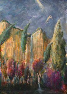 La cascade, gonflée par les dernières pluies, lâchait sa joie du haut de la falaise ; les arbres avaient revêtu leur premier costume d'automne. Dans l'indifférence du monde, Icare chutait avec élégance. - 46cm x 33cm - 2020